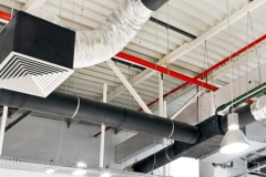 Industrial air duct ventilation equipment at ceiling